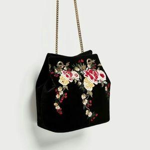 Zara Embroidered velvet shoulder bag